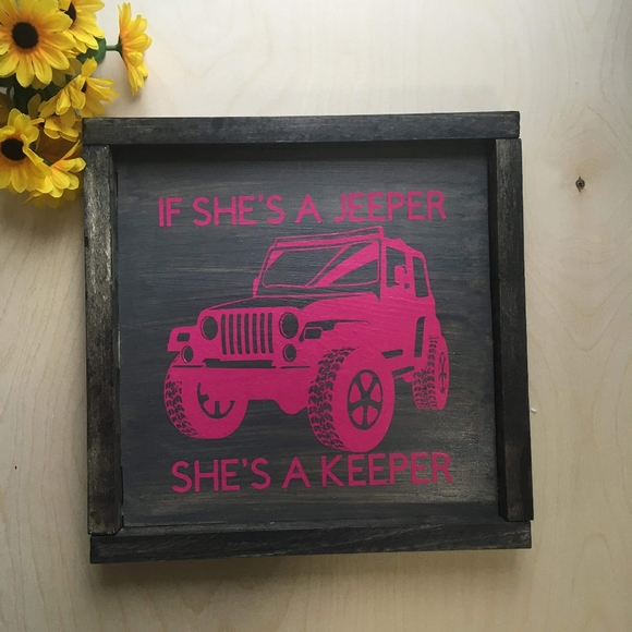 Hand Crafted   Wooden Jeep Sign